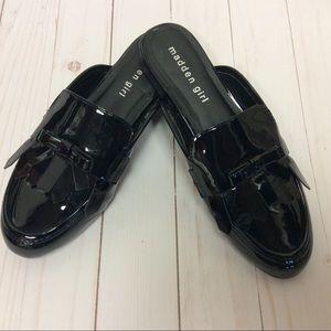 Madden Girl Black Patent Slide Mules 7.5